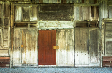 Old wood windows and doors wall background texture