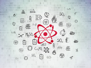 Science concept: Painted red Molecule icon on Digital Data Paper background with  Hand Drawn Science Icons
