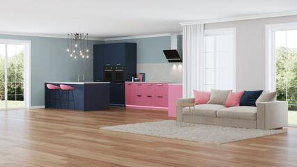 Modern house interior. Pink kitchen. 3D rendering.