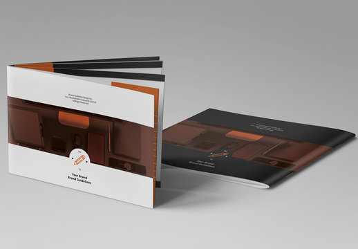 Brand Identity Manual Layout with Orange Sidebars