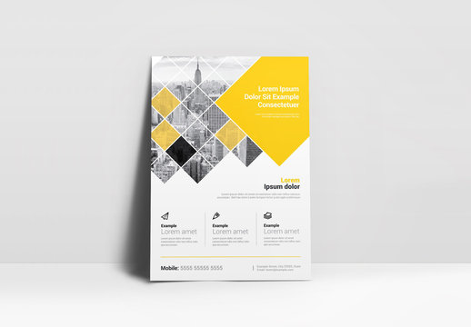 Yellow Flyer Layout with Square Elements