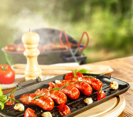 grill time and garden background