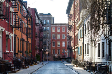 Fond de hotte en verre imprimé New York City Historic block of buildings on Gay Street in Greenwich Village neighborhood of Manhattan in New York City