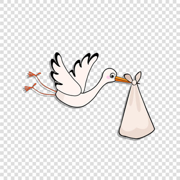 Cartoon stork delivering baby bundle on transparent background