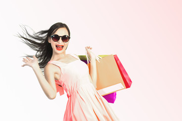 pretty asian woman going shopping and show happy and fun posing in shopping