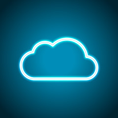 Simple cloud. Linear symbol with thin outline. Neon style. Light