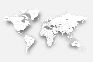 Political map of World. White map with country borders and labels with dropped shadow on light background. Vector illustration.