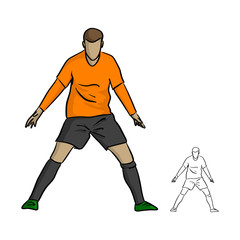 male soccer player celebrating goal on a soccer field during the match vector illustration sketch doodle hand drawn with black lines isolated on white background