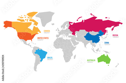 World map vector illustration infographics with highlighted 6 world map vector illustration infographics with highlighted 6 largest countries by area gumiabroncs Gallery