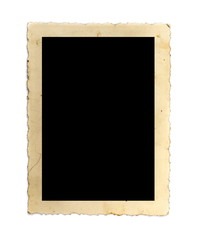 Old photo frame isolated on white background