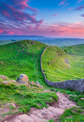 Fotobehang Groene Hadrian's Wall Portrait at Twilight / Hadrian's Wall is a World Heritage Site in the beautiful Northumberland National Park. Popular with walkers along the Hadrian's Wall Path and Pennine Way