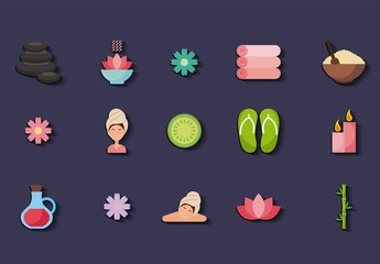 25 Colorful Spa Icons