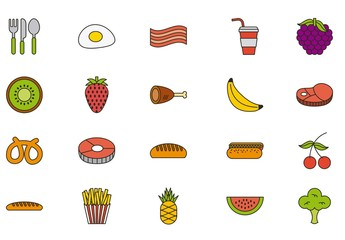 25 Colorful Food Icons