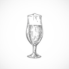 Elegant Beer Glass with Foam. Abstract Sketch. Hand Drawn Vector Illustration.