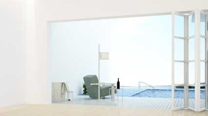 The interior minimal hotel relax space swimming pool 3d rendering and nature view background