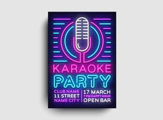 Karaoke party poster neon vector. Karaoke night design template, bright neon brochure, modern trend design, light banner, typography invitation to the party, advertising postcard. Vector illustration