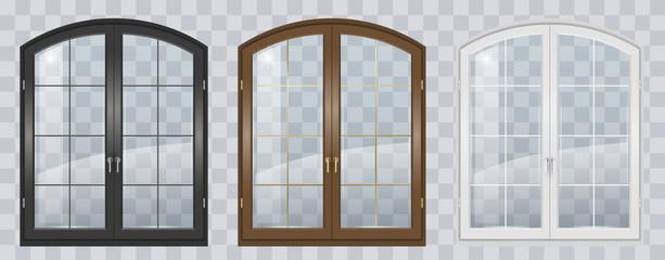 Fototapeta Wooden arched window obraz
