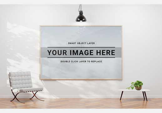 Framed Print with Contemporary Furniture Mockup