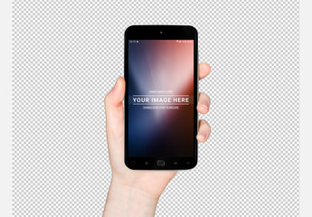 Isolated Hand Holding Smartphone Mockup
