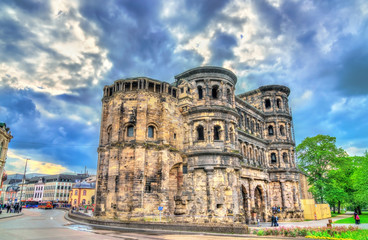 The Porta Nigra, a large Roman city gate in Trier, Germany
