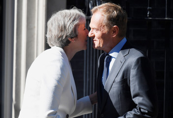 Britain's Prime Minister Theresa May welcomes Donald Tusk, President of the European Council, to 10 Downing Street in London