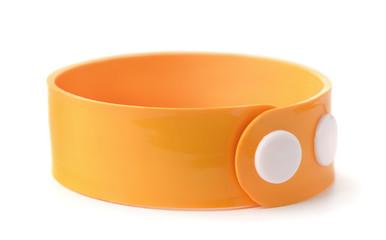 Orange rubber wristband