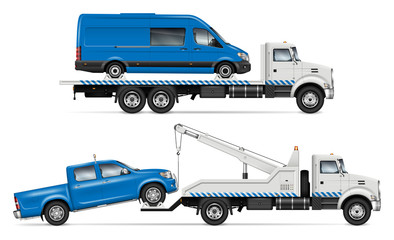 Realistic tow truck vector mockup. Isolated template of breakdown lorry on white background for vehicle branding, corporate identity. View from right side, easy editing and recolor.