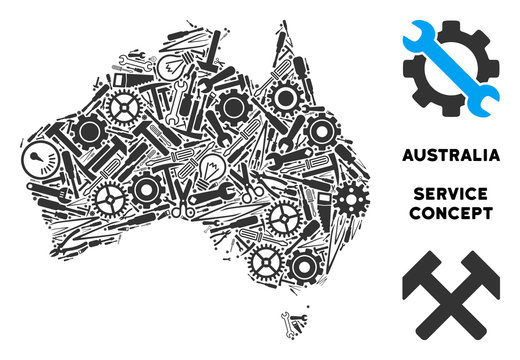 Service Australia map composition of tools. Abstract territorial scheme in grey color. Vector Australia map is made of cogs, screwdrivers and other service items. Concept of technician service.