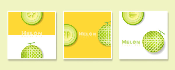Set of fruit banners with melon in paper art style , vector , illustration