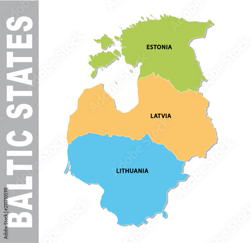 Colorful baltic states administrative and political vector map ...