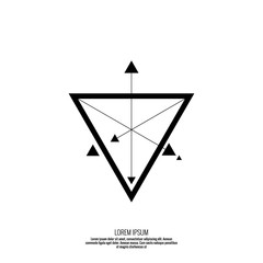 Vector geometric symbol triangle with arrows. Trendy hipster sign for tattoo.