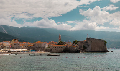 Wall Mural - Panoramic view of the Budva Riviera the fortress of the Old Town