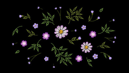 Tiny field flower realistic embroidery. Wild herbs daisy textile print decoration black fashion traditional vector illustration vintage design template. Chamomile plant floral ditsy ornament
