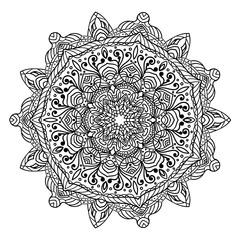 Black and white decorative ornamental mandala design