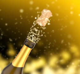 Close up of champagne blast, celebration and toast