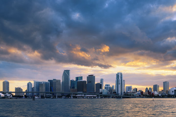 Fototapete - Miami city by sunset