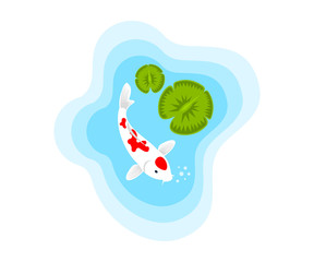 Fish, carp koi in a pond with water lilies, illustration. Aquaristics, marine life, animals and the underwater world, vector design, icon
