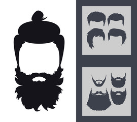 Hipster Fashion Set. Bearded Face Avatar Silhouette. Haircuts, Beards, Glasses, Accessories