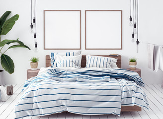Posters mock-up in new Scandinavian bedroom, 3d render