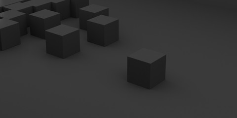 Abstract concept of black cubes on dark background, 3d rendering