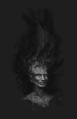 A fabulous forest character. Illustration of a dark elf. Black cover for a book, disk. The concept. 2d Painting. Raster image.