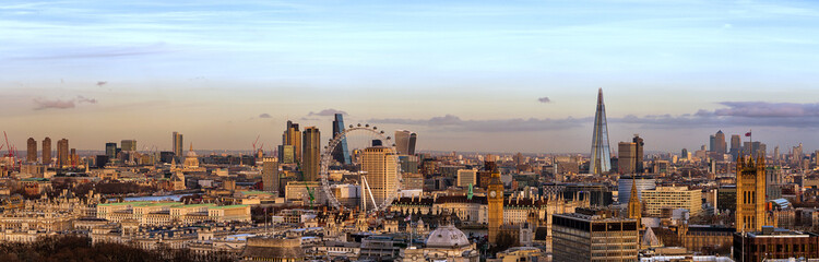 Printed roller blinds Cappuccino London Skyline Day