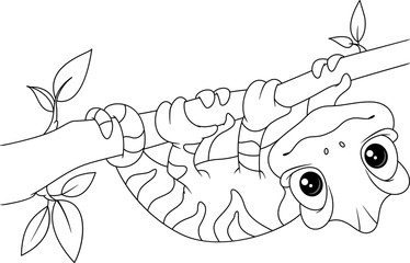 Chameleon on Branch Coloring Page