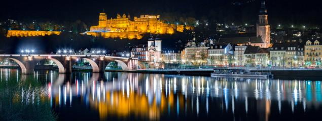 Heidelberg city panorama with Neckar river at night, Baden-Wurttemberg, Germany