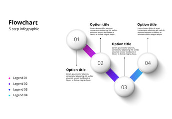 4 Step Infographic with Multicolored Accents