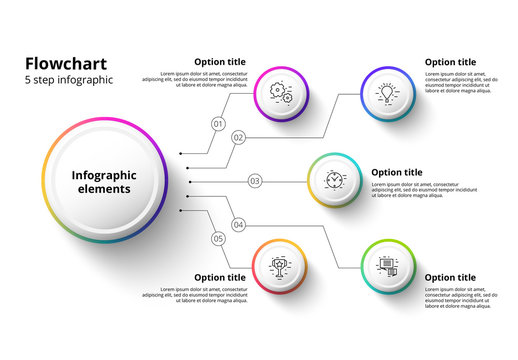 5 Step Infographic with Multicolored Accents