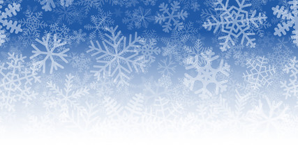 Christmas illustration of many layers of snowflakes of different shapes, sizes and transparency. On gradient background from blue to white.
