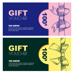 Gift card, voucher, certificate or coupon vector design layout. Discount banner template for holidays greetings.