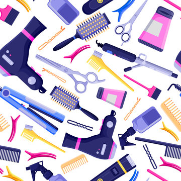 Beauty salon vector seamless pattern. Colorful hair hairdresser tools and equipment.