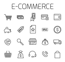E-commerce related vector icon set.